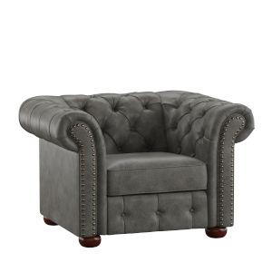 Arthur Gray Tufted Scroll Arm Chesterfield Chair